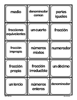 Fracciones - Tarjetas De Intercambio - Spanish Math Vocabulary Games