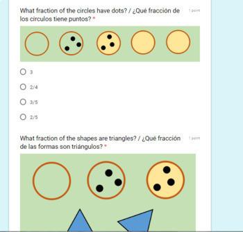 Fracciones con Formas Bilingual Quiz-for Google Classroom (Auto-Grading)