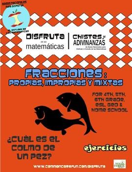 Fracciones - propias, impropias o mixtas - Spanish only