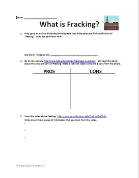 Fracking (Hydraulic Fracturing) Internet Worksheet
