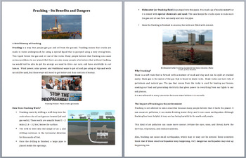 Fracking and Its Dangers - Science Reading Article - Grades 5-7