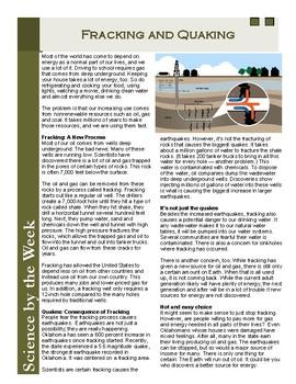 Fracking for Oil:  Leveled Informational Text