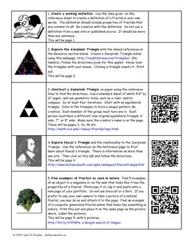 Fractals Web Quest Project  Fun for Algebra  Geometry includes a QR version