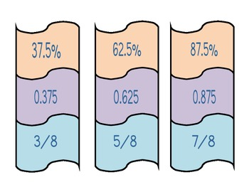 Fraction, Decimal, and Percent 3-Piece Puzzle