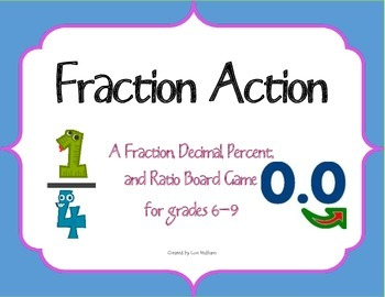 Fraction Action: A Fraction, Decimal, Percent and Ratio Board Game
