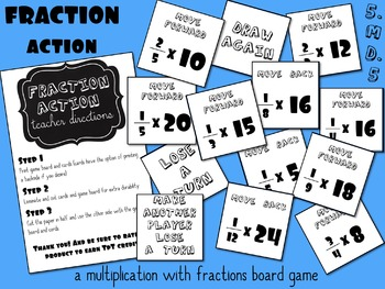 Fraction Action - Board Game for Multiplying Fractions by Whole Numbers