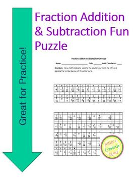 Fraction Add and Subtract Fun Puzzle Worksheet with Differentiated Version
