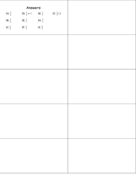 Fraction Addition Cards Set I Addition w/ Common Denominator