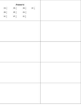 Fraction Addition Cards Set II Addition w/ Common Denominator