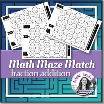 Fraction Addition (MATH MAZE MATCH)