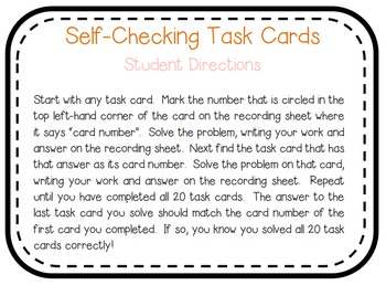 Fraction Addition & Subtraction Self-Checking Task Cards