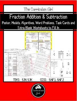 Fraction Addition & Subtraction Unit (TEKS 5.3H, 5.3K, CCSS 5.NF.1, 5.NF.2)