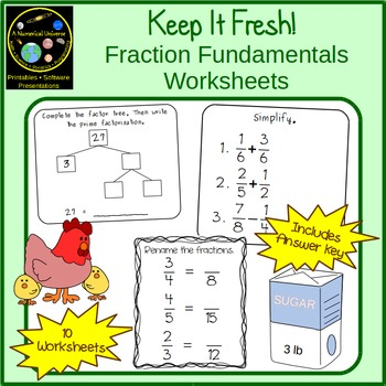 Fraction Fundamentals Worksheets: LCD, GCF, Fraction Renaming and Simplification