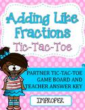 Fraction Addition Tic-Tac-Toe Game: Adding Like Fractions (Improper)