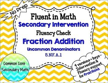 Fraction Addition Uncommon Denominators : RTI Intervention No Prep Fluency
