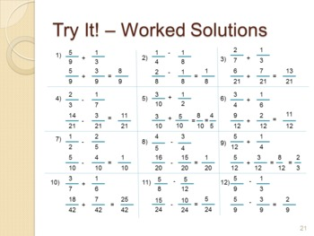 Fraction Addition and Subtraction - A Complete Classroom Lesson