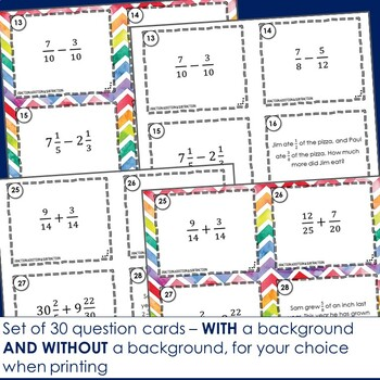 Fraction Addition and Subtraction Task Cards - Footloose Math Game
