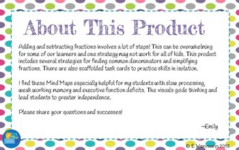 Fraction Addition and Subtraction Mind Maps + TASK CARDS