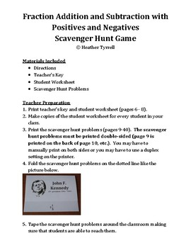 Fraction Addition and Subtraction with Positives and Negatives Scavenger Hunt