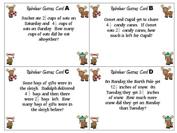 Fraction Addition and Subtraction Story Problems Sample Christmas Theme