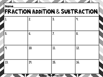 Fraction Addition and Subtraction Task Cards