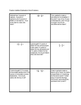 Fraction Addition and Subtraction Tic-Tac-Toe with word problems practice