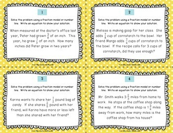 5.NF.2 Fraction Addition and Subtraction Word Problem Task Cards
