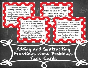 Fraction Addition and Subtraction Word Problems Task Cards