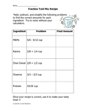 Fraction Addition/Subtraction Trail Mix Recipe