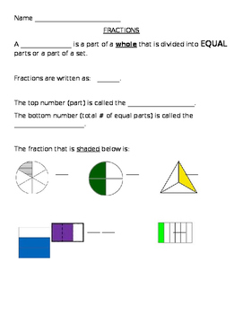 2nd and 3rd Grade Fraction Notetaker