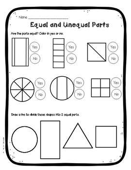 Fraction Anchor Chart Equal vs. Unequal Parts FREE!