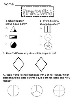 Fraction Assessment 1st Grade