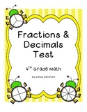 Fraction Assessment - 4th Grade Math Common Core