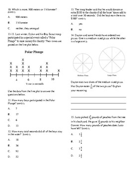 Fraction Assessment CCSS: 4.MD.1; 4.MD.2; 4.MD.4; 4.NF.3