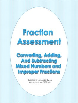 Fraction Assessment CCSS Aligned