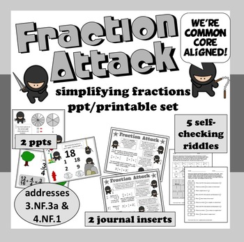 Fraction Attack - simplifying fractions ppt + printables set