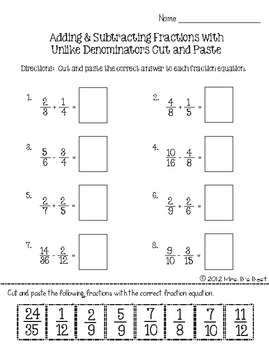 Fraction Attraction Pack: Add and Subtract Fractions with Unlike Denominators