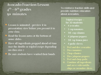 Fraction Avocado Math Lesson - Integrating Nutrition Education with Fractions