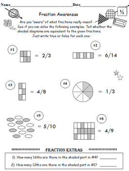 Fraction Awareness PLUS Fraction Fun Facts (Both Sets 6 worksheets)