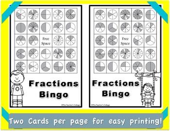 Fraction BINGO Card Set