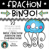 Fraction BINGO! 32 Different Cards! Add/Subtract with LIKE Denominators!