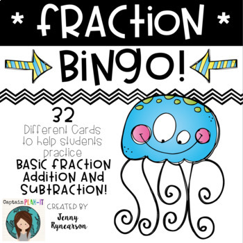 Fraction BINGO! 32 Different Cards! Add/Subtract with LIKE
