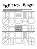 Fractions/Equal Shares BINGO (customizable/fillable halves, thirds, fourths)