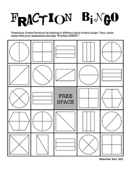photo relating to Fraction Bingo Printable identified as Fractions/Equivalent Stocks BINGO (customizable/fillable halves, thirds, fourths)