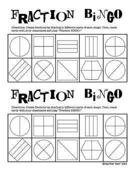 Fractions/Equal Shares BINGO 2 (customizable/fillable halves, thirds, fourths)