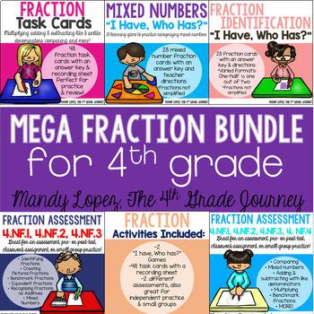 Fraction BUNDLE {48 Task Cards, 2 Assessments, & 2 Games!}