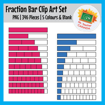 Fraction Bar Clip Art Set - 346 Pieces - 5 Colors & BW - No Fraction Written