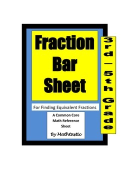 Fraction Bar Reference Sheet for Common Core Math