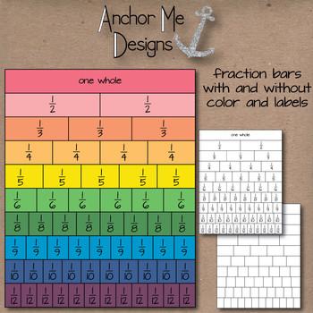Fraction Bar Shaded Clip Art- halfs to fifths, sixths, eig