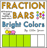 Fraction Bars Clipart in Bright Colors